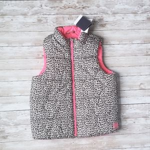 Gap Leopard Print Puffer Vest with Pink Lining